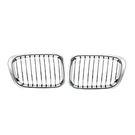 One Pair Plated Chrome Silver Front Grille Grilles for BMW E46 4 Door 98-01