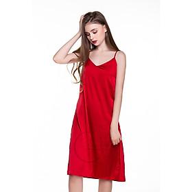 Dreamy-VS07-Váy ngủ lụa cao cấp, váy ngủ nữ, váy ngủ 2 dây, váy ngủ gợi cảm, váy ngủ sexy, đầm ngủ lụa mặc nhà 2 dây trơn có 2 màu đen và đỏ đô