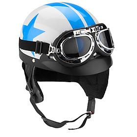 White+Blue Motorcycle Half Open Face Helmet Biker Scooter w/ UV Goggles Vintage
