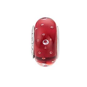 Hình đại diện sản phẩm Hạt charm DIY PNJSilver hình dẹt tròn màu đỏ hoa văn 0000K060173-BO