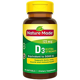 Viên Uống Nature Made Extra Strength Vitamin D3 5000 IU Giúp Chắc Xương