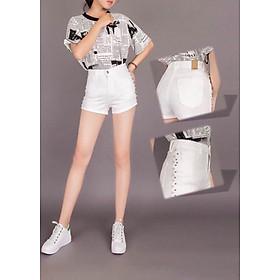 Quần short jean nữ mix ngọc