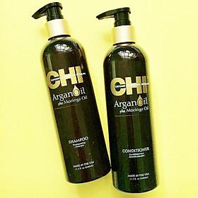 Bộ dầu gội xả CHI Argan Oil Plus Moringa Mỹ 340ml - Dưỡng ẩm mềm mượt trẻ hóa tóc-3