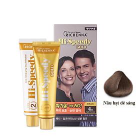 Thuốc nhuộm tóc phủ bạc thảo dược Richenna Hi-Speedy Gold Hàn Quốc màu nâu hạt dẻ sáng 150g