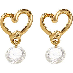 Bông tai nữ Trái tim vàng đá pha lê Showfay Jewelry
