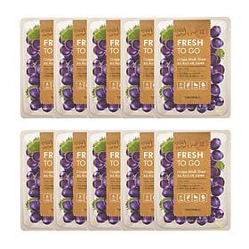 10 Mặt Nạ Tony Moly Fresh To Go Mask Sheet (10 x 22g) - Grape: Chiết xuất từ nho làm se khít lỗ chân lông giúp da mịn màng hơn