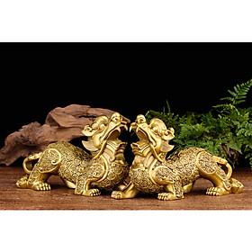 Tượng đôi Tỳ hưu tiền xu chất liệu bằng đồng thau linh vật phong thủy Hồng Thắng