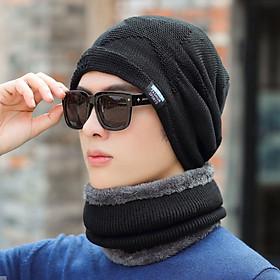 Bộ mũ len kèm khăn lót nỉ cho nam phong cách Hàn, sét nón len 2 trong 1 nam cao cấp