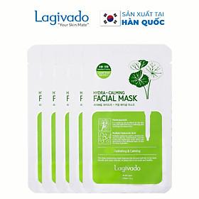 Combo 5 Mặt nạ dưỡng ẩm trắng da giúp kiềm dầu và mụn Hàn Quốc Lagivado Hydra Calming Facial Mask 23g/miếng