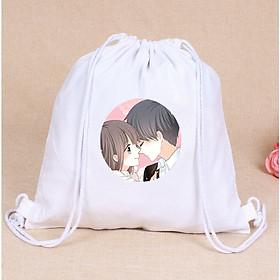 Balo dây rút trắng in hình CON TIM RUNG ĐỘNG anime chibi túi rút đi học xinh xắn thời trang