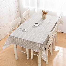 Khăn trải bàn PVC không thấm nước lót bàn ăn - Xám