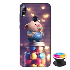 Ốp lưng điện thoại Asus Zenfone Max Pro M2 hình Heo Con Ăn Kẹo tặng kèm giá đỡ điện thoại iCase xinh xắn - Hàng chính hãng