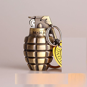 Bật lửa quẹt gas độc đáo móc khóa  hình quả lựu đạn vàng có khứa