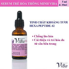 Serum trẻ hóa thông minh từ khoáng tươi kết hợp với hoạt chất Hexa - Peptide 12 - chai nhỏ 5ml - Khoáng tươi Viba