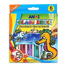 Bộ Bút Vẽ Trang Trí Amos Glass Deco GD10P6