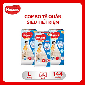 Combo 3 Gói Tã Quần Huggies Dry Gói Đại L48 (48 Miếng) - Bao Bì Mới