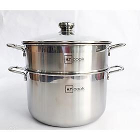 Bộ nồi xửng hấp 1 đáy từ inox 430 H.T cook nắp kính 28cm , tặng 2 vá canh