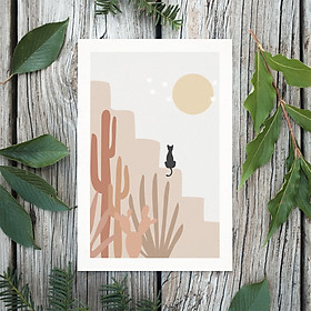 Tranh Poster Phong cách tối giản, Bohemian, Landscape, Cat, Lifestyle, Fashion, Minimalism, Pastel, SOYN PTK012