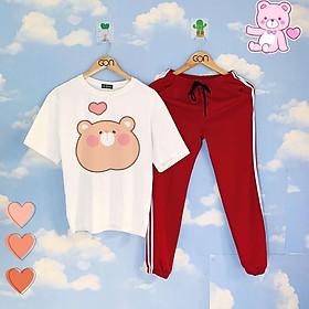 Set áo tay lửng quần thun 2 sọc ĐỎ unisex, quần dài 2 sọc, 3 sọc, Áo tay lỡ và quần thể thao RED