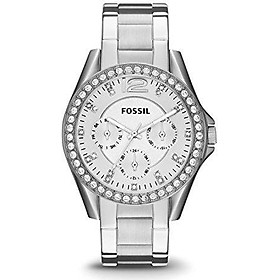 Fossil Women's Riley Stainless Steel Multifunction Glitz Quartz Watch