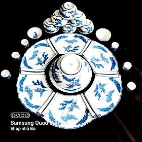 Bộ bát đĩa thắp hương sứ Bát Tràng cao cấp hình cuốn thư 16 món ( size đại ĐK52cm)