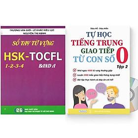 Combo 2 sách: Sổ tay từ vựng HSK1-2-3-4 và TOCFL band A + Tự Học Tiếng Trung Giao Tiếp Từ Con Số 0 Tập 2 (Có audio nghe)+DVD tài liệu
