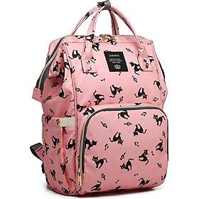 Balo túi xách bỉm sữa in hình chú mèo hồng 13 ngăn - Tặng 100 ngôi sao dạ quang