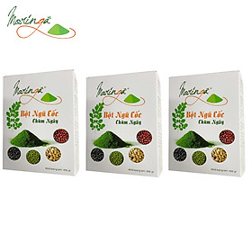 Combo 3 Hộp Ngũ Cốc Chùm Ngây Moringa - Thực phẩm cung cấp dinh dưỡng cho mọi đối tượng, bổ sung caxi và đạm thực vật, tiện lợi cho bữa sáng và chắc bụng cho bữa tối giúp ngủ ngon