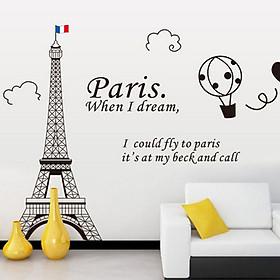 Decal dán tường thành phố paris mộng mơ và tháp eiffel đen