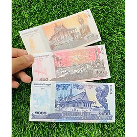 Bộ 3 Tờ tiền Campuchia 100 500 1000 Riels cảnh chùa, sưu tầm tiền xưa, mới 100% UNC, tặng túi nilon bảo quản