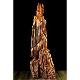 Tượng gỗ mỹ nghệ- Tế Công đại tiếu- gỗ hương ta Gia Lai nguyên khối quạt rời