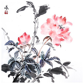 Tooarts Lingering Aroma Chinese Flower Painting Wall Art Artist Hand-Painted Chinese Brush Painting Traditional