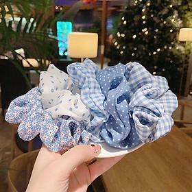 Sét 5 dây buộc tóc tone xanh Scrunchies dễ thương HD64 mầu ngẫu nhiên