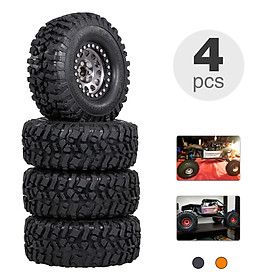 4PCS 2.2IN Crawler RC Tires with Metal Rim Ultra Soft Rock Crawler Tires for 1/10 rc Rock Crawler Traxxas Trx4 TRX-6