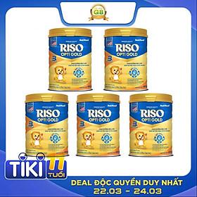 Bộ 5 Lon Sữa Bột NutiFood RISO OPTI GOLD 3 Lon 900g Cho Trẻ Từ 1-2 Tuổi