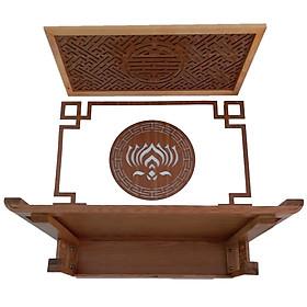 Bàn thờ treo gỗ sồi,  gồm 4 món , ám khói, bộ chỉ viền , và tấm ốp lưng mẫu hoa sen