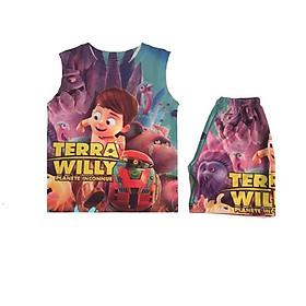 Đồ bộ ba lỗ 3D Hình Terra Willy cho bé trai 10-40kg