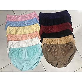 Sét 10 quần lót nữ BIG SIZE Thun cotton Cạp cao ren trước Hàng Việt Nam(Từ 60kg đến 100kg)