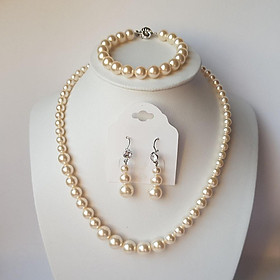 Bộ trang sức ngọc trai pha lê Áo Swarovski pearl 5810 cao cấp, khóa bạc 925 cao cấp