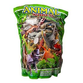 Mô hình thế giới động vật 60 chi tiết New4all ANIMAL WORLD cho bé trên 3 tuổi (Xanh)