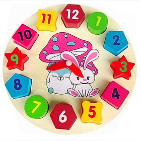 Đồ chơi gỗ ngộ nghĩnh thông minh - đồ chơi gỗ hình đồng hồ ngũ sắc hình học 3 trong 1 luyện kỹ năng nhận biết số và hình, phát triển tư duy toán học cho trer