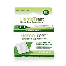 Viên đặt hậu môn hỗ trợ điều trị trĩ HEMOTREAT H giúp giảm nhanh đau trĩ, giảm 1 cấp độ trĩ sau 30 ngày sử dụng (12 viên đặt)