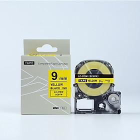 Tape nhãn in tương thích SC9YW (LC-3YBW) dùng cho máy in nhãn KingJim SR & EPSON LW (chữ đen nền vàng, 9mm)