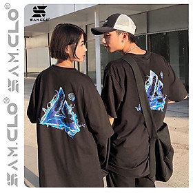 Áo thun tay lỡ freesize nữ SAM CLO - phông form rộng Unisex, mặc lớp, nhóm, cặp hình chữ A lửa xanh 4AM studio màu đen
