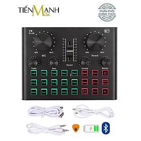 Sound Card Thu Âm Thanh, Livestream, Hát Karaoke Cuvave V8 Plus - Bluetooth, Pin Sạc USB Audio Interface Soundcard V8Plus - Kèm Móng Gẩy DreamMaker