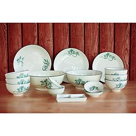 Bộ bát đĩa sứ Sen xanh cao cấp 16 sản phẩm