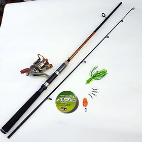 Bộ Cần Câu lure Avers spin + máy câu cá LC kim loại + tặng phụ kiện