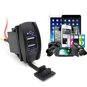 Sạc Điện Thoại 2 Cổng USB Có Đèn Led Cho Xe Ô Tô, Xe Máy 12-24V Volcano shop