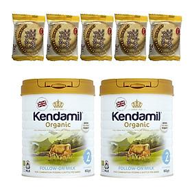 Combo 2 hộp Sữa Nguyên kem công thức hữu cơ KENDAMIL ORGANNIC số 2: ORGANIC FOLLOW ON MILK (800G) ( cho trẻ từ 6-12 tháng tuổi) - Tăng sức đề kháng, tăng cân, phát triển chiều cao và trí não – Tặng 5 bánh quy Nhật Bản hiệu Aee