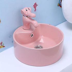 Bộ chậu rửa tay trẻ em hình tròn, kèm vòi lavabo hình con voi, màu hồng